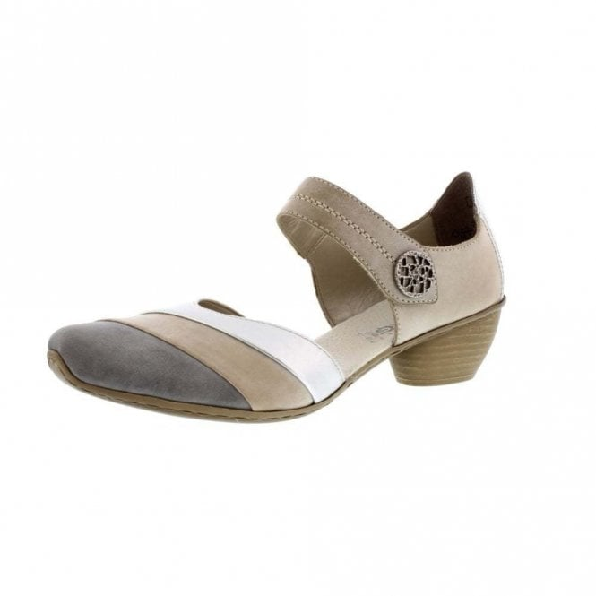 Rieker 43790-40 Grey / Beige Leather Velcro Shoe