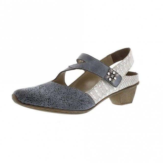 Rieker 49770-14 Blue Jeans Leather Velcro Shoe