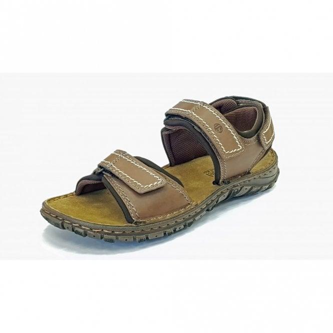 Josef Seibel Canim Brandy Brown Leather Mens Velcro Sandal