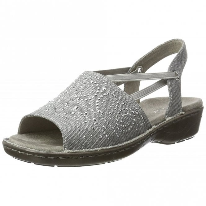 Jenny 57262-77 Silver Metallic Sandal with Elasticated Straps