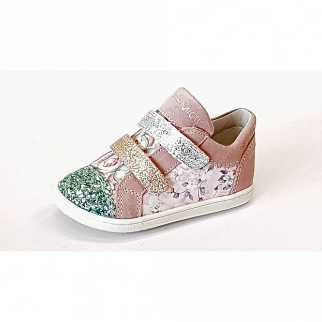 Primigi PBX 14044 Pink Suede with Glitter Girl's Velcro Shoe