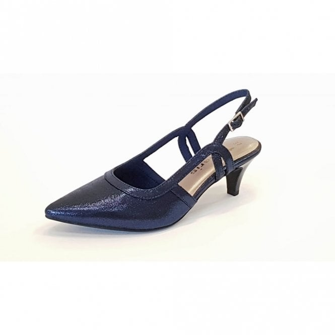 Tamaris 29610-20 Navy Metallic Sling Back Shoe