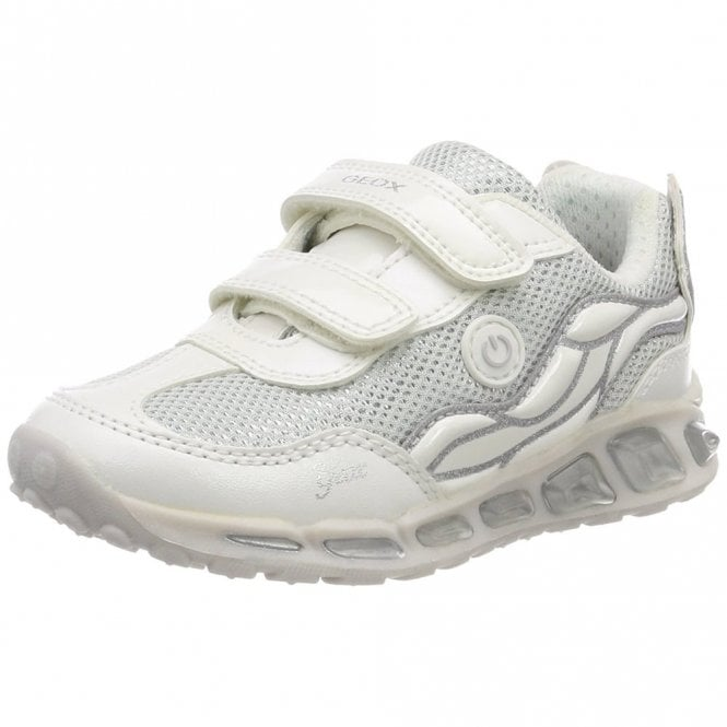 Geox J Shuttle G J8206C White / Silver Girls Trainer Shoe with Lights