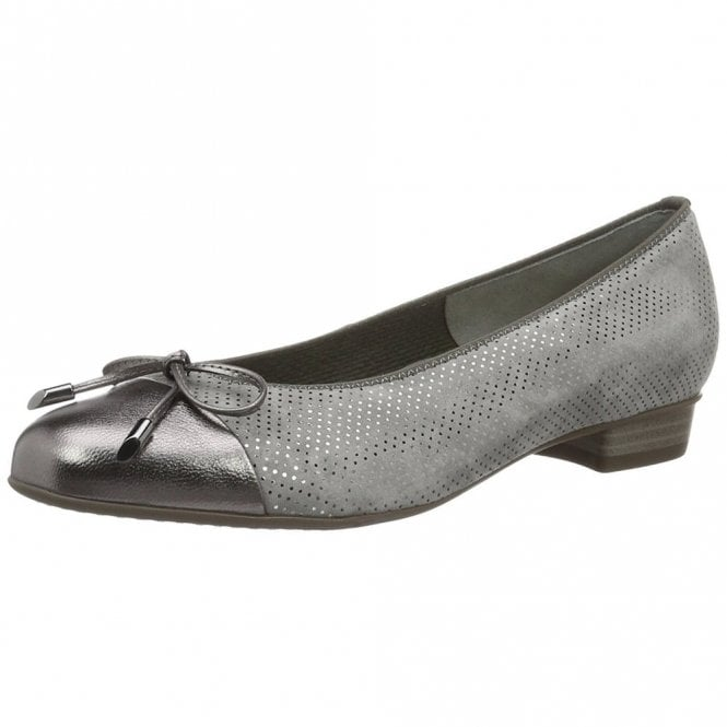 Ara 33760-45 Grey Suede With Pewter Leather Toe Pump