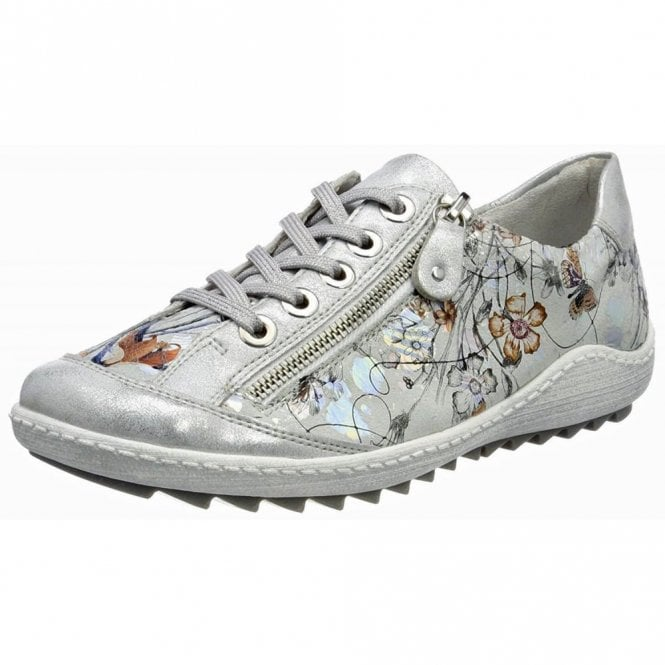 Remonte Dorndorf R1402-90 Ice / Off White Metallic Floral Lace Up Shoe