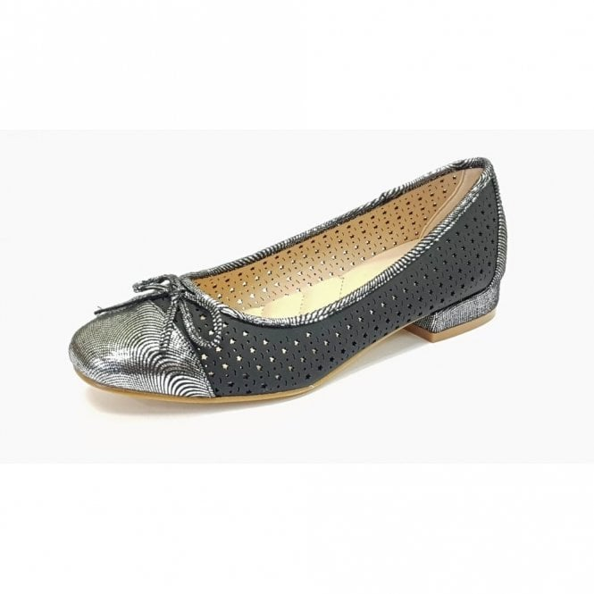 Lunar Hendrix JLY039 Black With Silver Toe Cap Pump Shoe