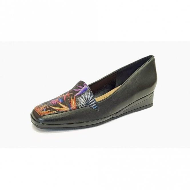 Van Dal Verona III Paradise Print / Black Leather Wedge Shoe