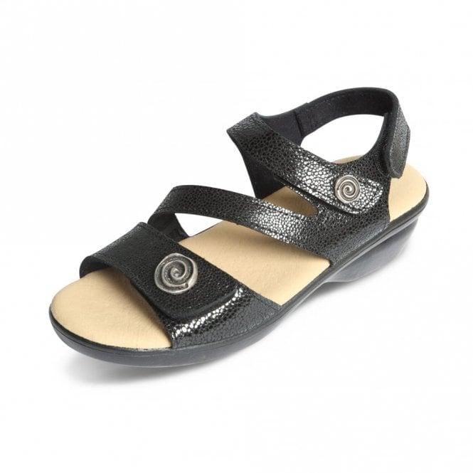 Padders Madeira Black Patent Reptile Print Sandal