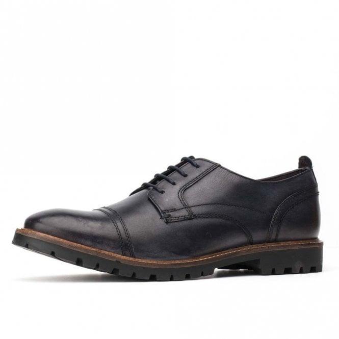 Base London Pike Washed Blue Leather Lace Oxford Shoe
