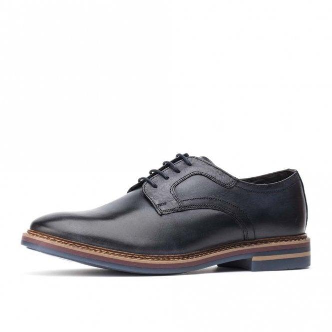 Base London Spencer Washed Navy Leather Lace Shoe