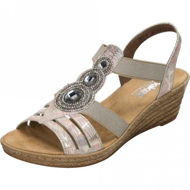 Rieker 62459-92 Pink Mulit Wedge Sandal with Diamonte Trim