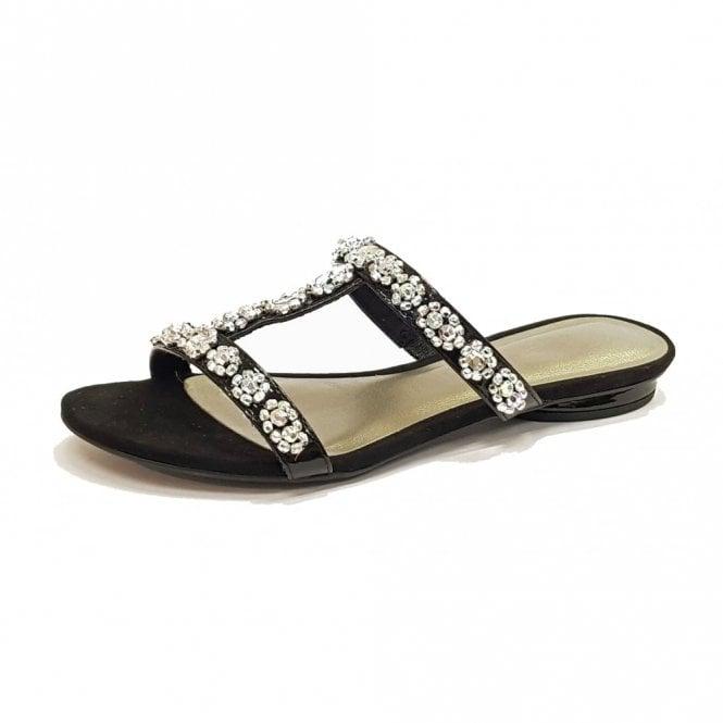 Tamaris 27191-20 Black Patent Sandal With Diamontes