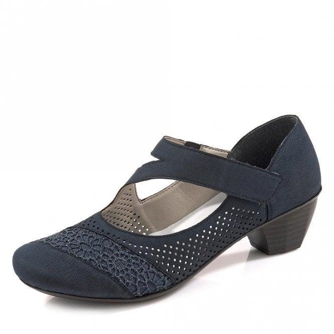 Rieker 41743-14 Navy Leather Velcro Shoe