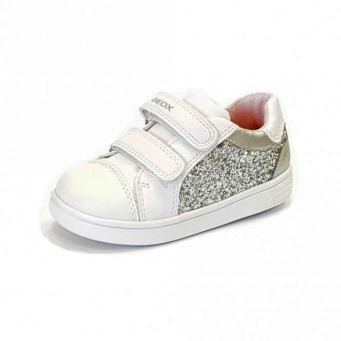 Geox DJRock G E Silver / White Girls Trainer Shoe