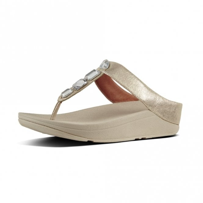 FitFlop Roka Toe-Thong Silver Leather Sandal