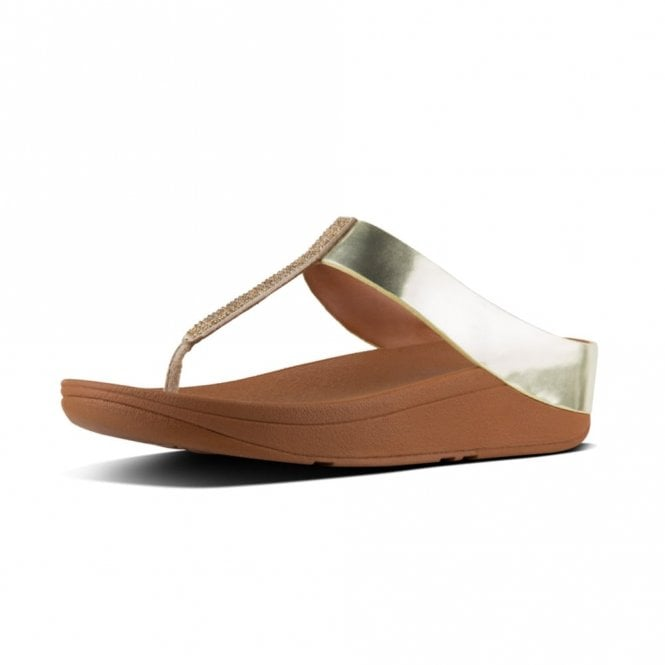 FitFlop Fino Crystal Toe Thong Gold Sandal