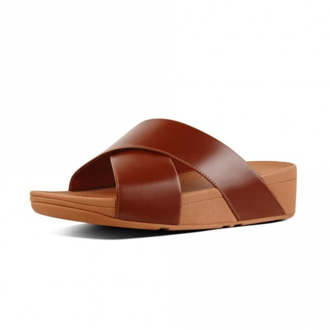 FitFlop Lulu Cross Slide Caramel Leather Sandal