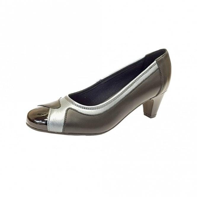 Padders Jewel Black Leather Combi Court Shoe