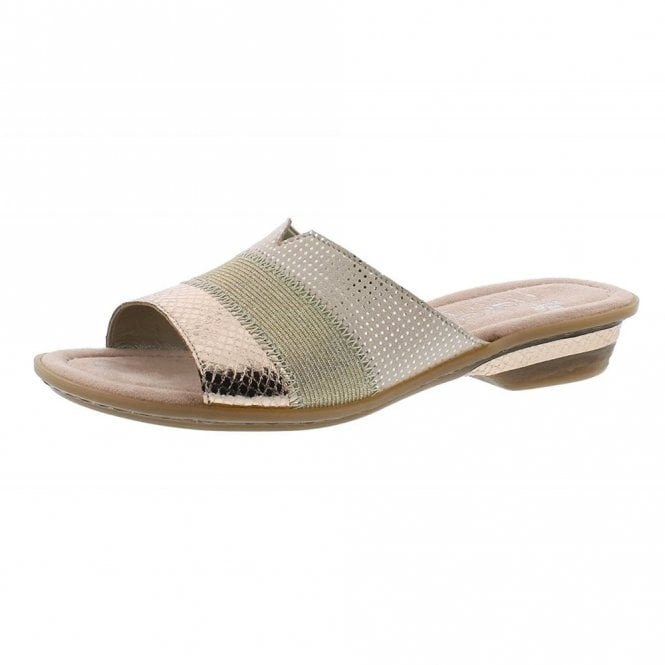 Rieker 63425-90 Rose Gold / Beige Combination Mule Sandal