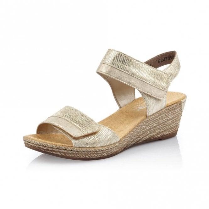 Rieker 62470-90 Light Gold Wedge Sandal
