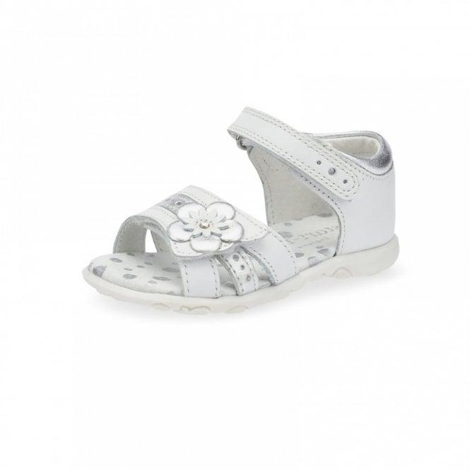 Start-rite Phoebe White / Silver Leather Girl's Sandal