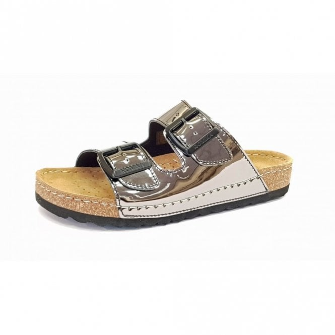 Romika Ontario 01 Silver Patent Buckle Sandal