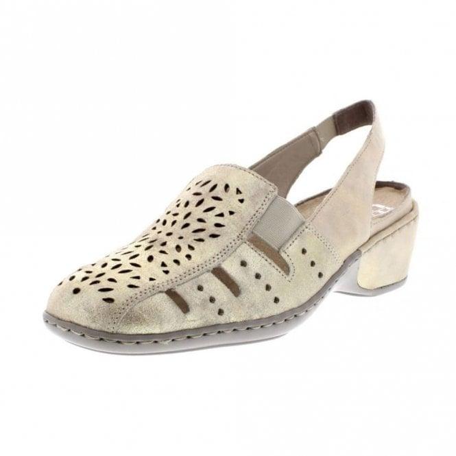 Rieker 47190-62 Beige / Metallic Leather Shoe