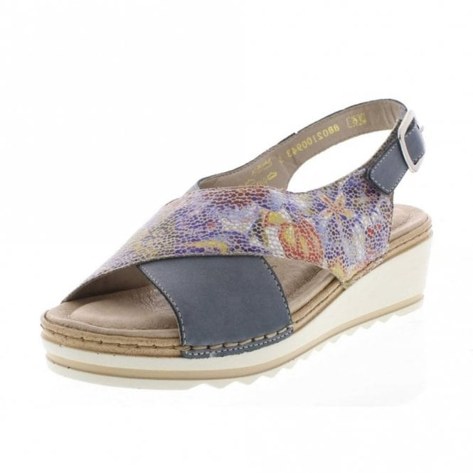 Remonte Dorndorf R6051-12 Blue Multi Leather Wedge Sandal