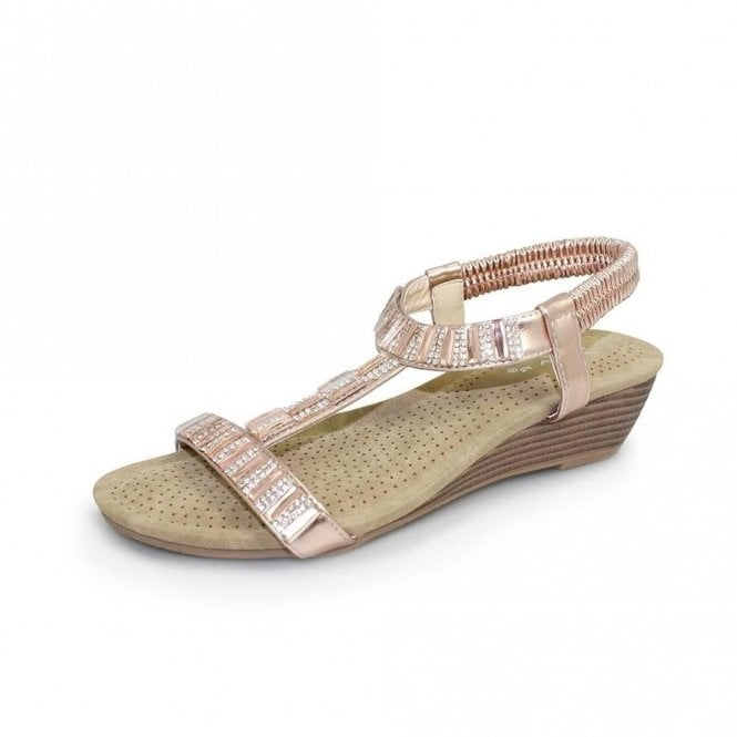 Lunar Reynolds JLH877 Rose Wedge Sandal with Diamonte Trim