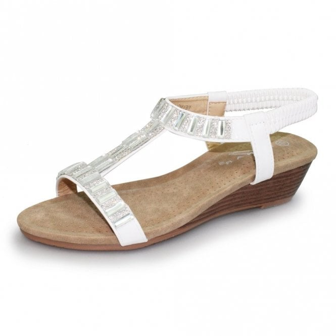 Lunar Reynolds JLH877 White Wedge Sandal with Diamonte Trim