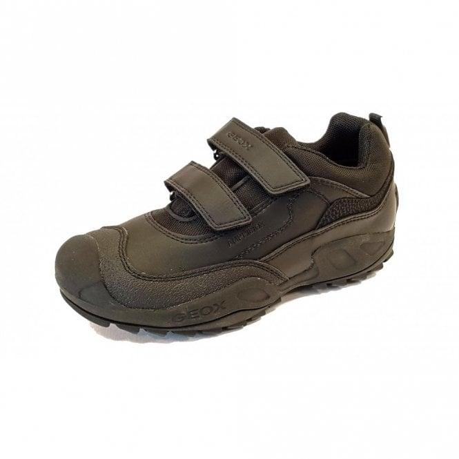 Geox J New Savage Waterproof Boys Black Leather School Shoe