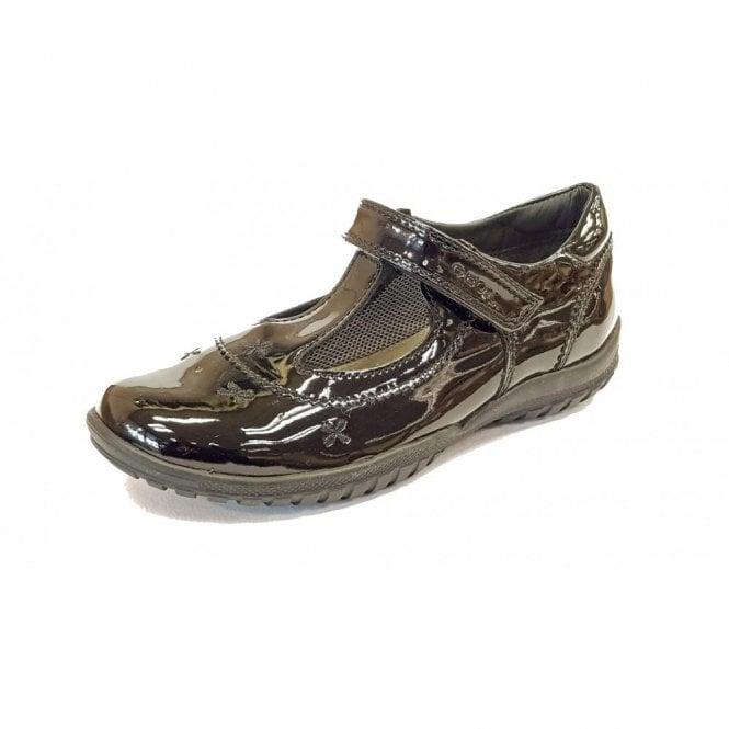 Geox J Shadow A T-Bar Black Patent Girls School Shoe