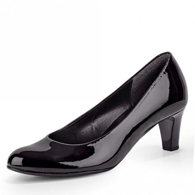 Gabor Nesta 95.300.77 Black Patent Court Shoe