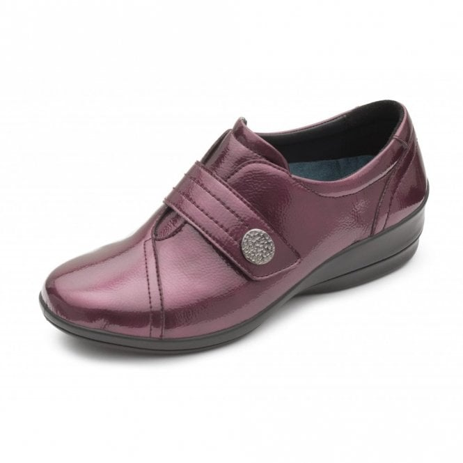 Padders Simone 3 Wine Patent Velcro Shoe