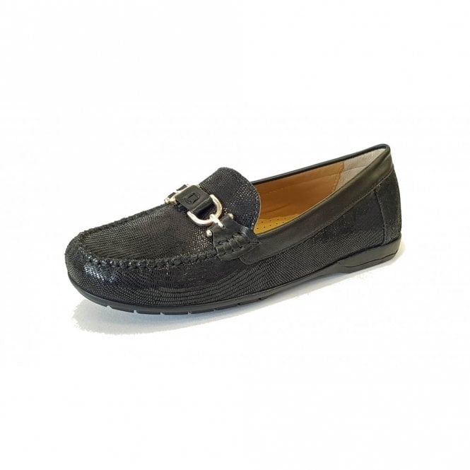 Van Dal Bliss Black Print Loafer Moccasin Shoe