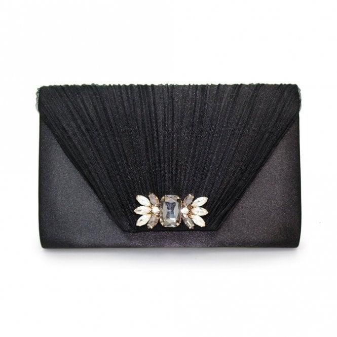 Lunar Amalfi ZLR461 Black Satin Clutch Handbag