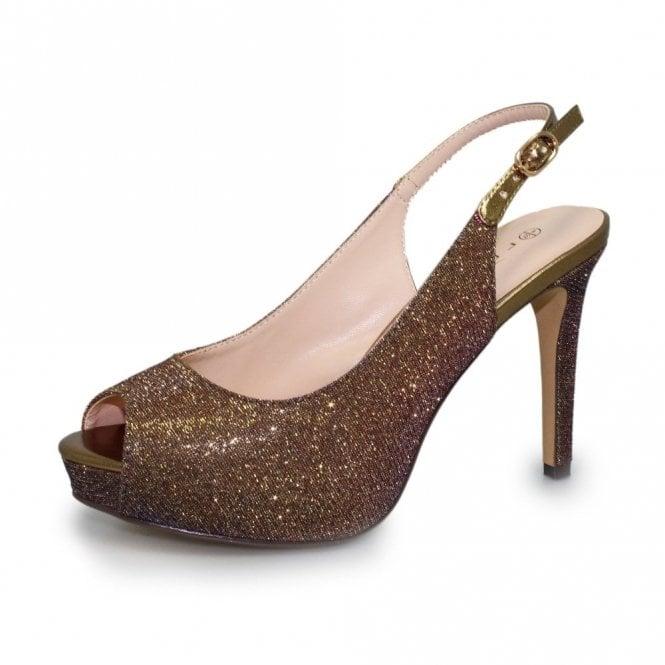 Lunar Jaq Bronze Glitter Sling Back Peep Toe Shoe