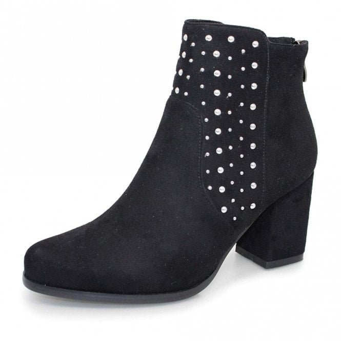 Lunar Marnie GLC653 Black Synthetic Suede Ladies Ankle Boot