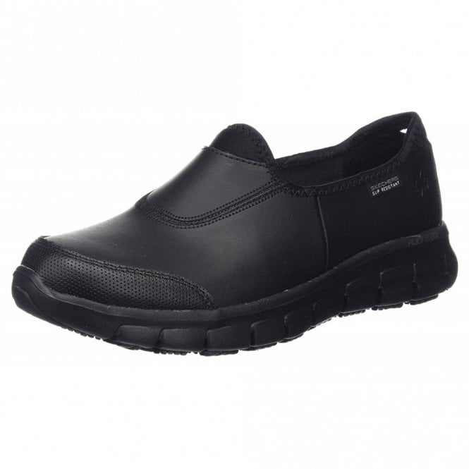 Skechers Work: Relaxed Fit - Sure Track Black Leather Ladies Work Shoe