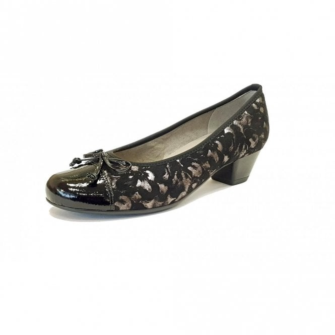 Jenny 63606-78 Black Crinkle Patent Toe Cap With Floral Pump Shoe