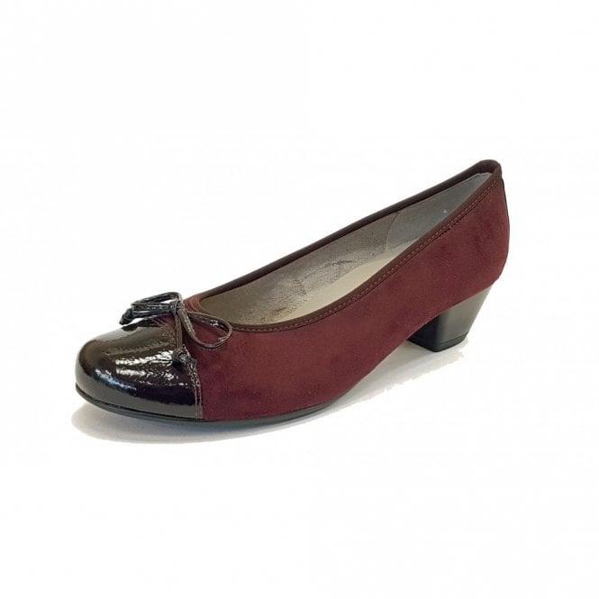 Jenny 63606-75 Black Crinkle Patent Toe Cap With Wine Nubuck Pump Shoe
