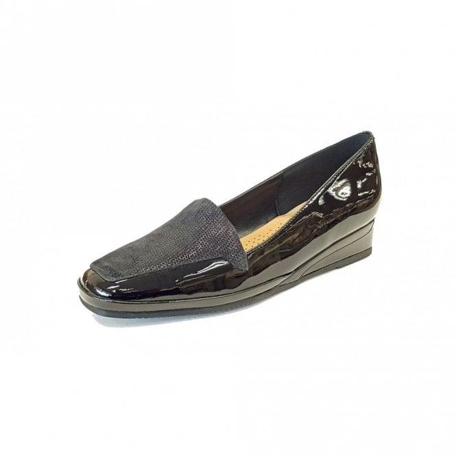 Van Dal Verona III Black Patent / Beetle Print Wedge Shoe