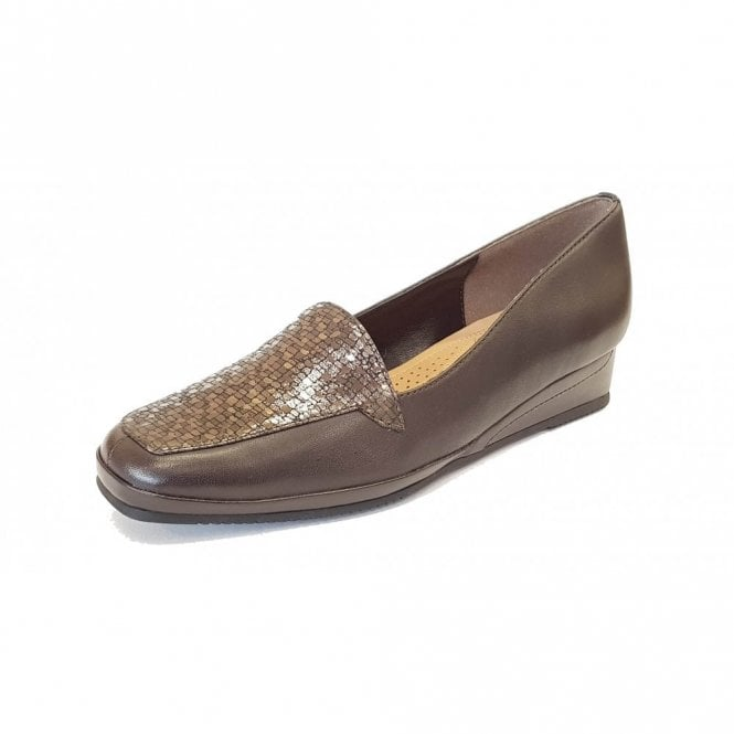 Van Dal Verona III Brown Leather / Bronze Chequer Print Wedge Shoe