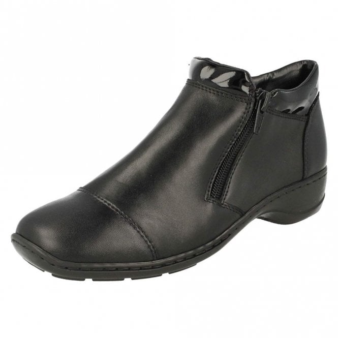 Rieker 58374-00 Black Leather Twin Zip Ankle Boot