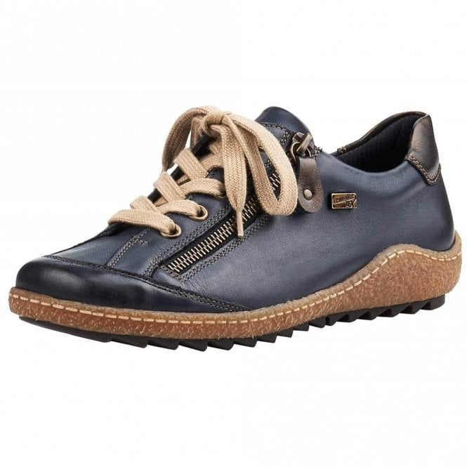 Remonte Dorndorf R4703-14 Blue Leather Water Resistant Lace Up / Zip Shoe