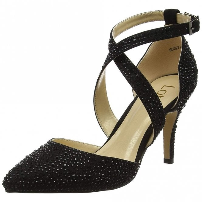 Lotus Star Black & Diamante Court Shoes