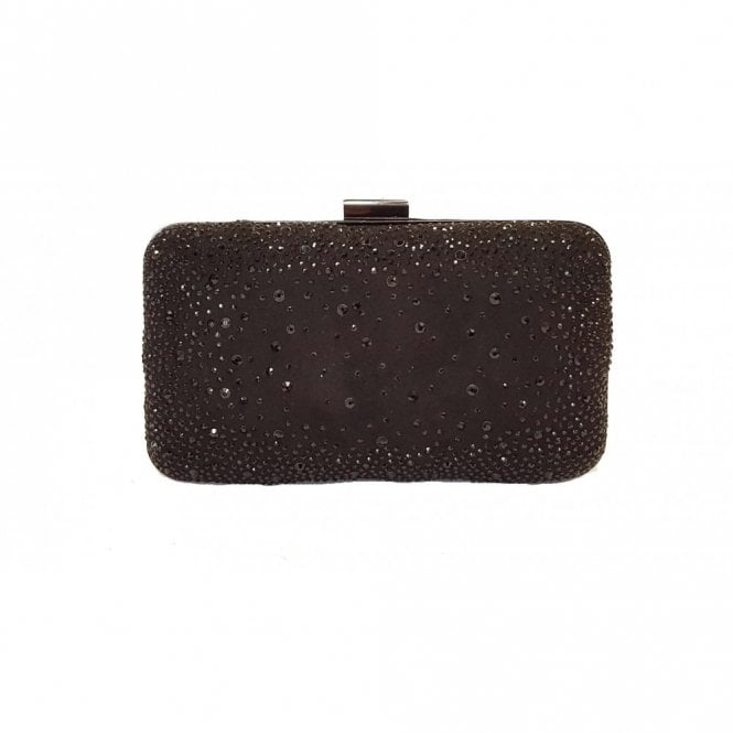 Lotus Lule Black Microfibre & Diamante Clutch Bag