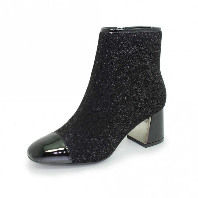 Lunar Duval GLE069 Black Patent / Glitter Ladies Ankle Boot