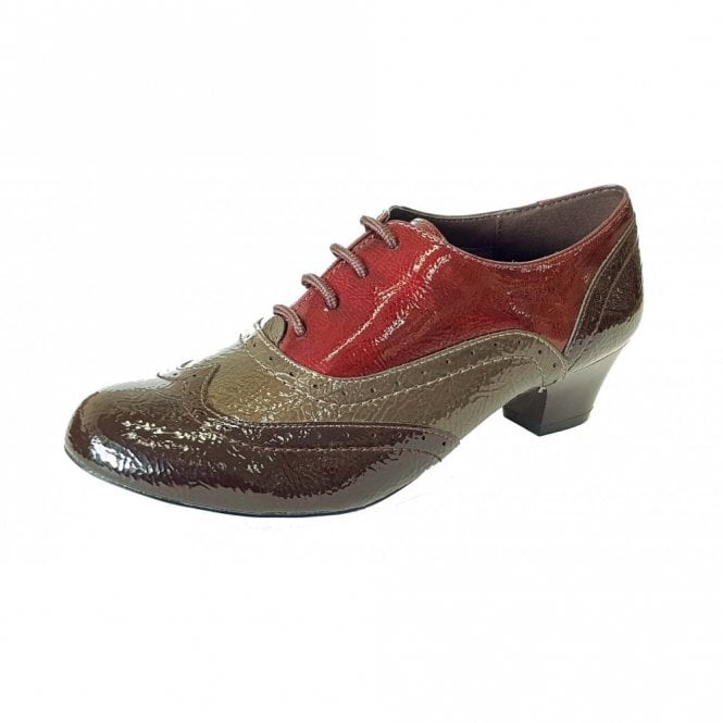 Lotus Platte Brown / Multi Crinkle Patent Lace-Up Shoes