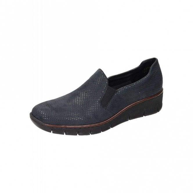Rieker 53766-17 Navy Print Ladies Slip On Shoe